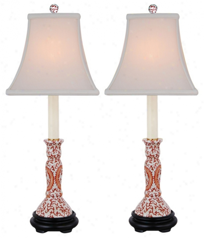 Set Of 2 Orange Floral Candle Stand Porcelain Table Lamps (n2025)