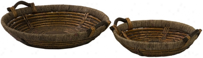 Set Of 2 Oversized Willow Woven Trays (t9945)