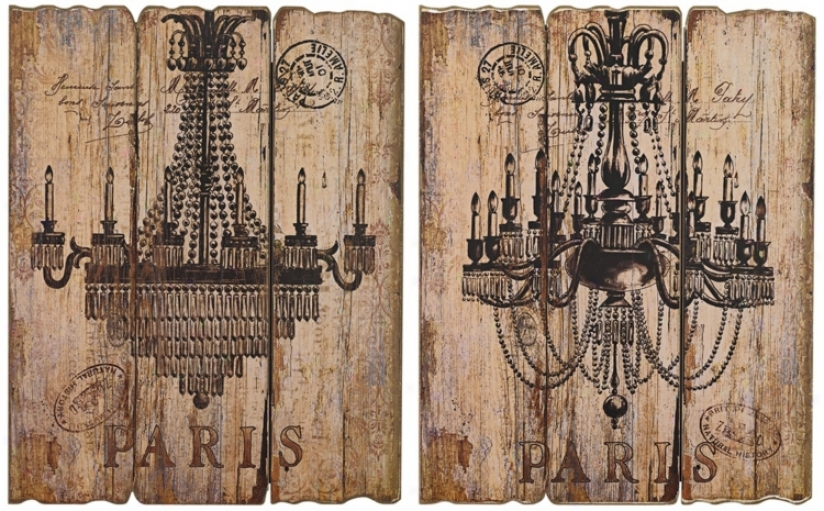 "Offer for sale Of 2 Paris Chandelier Postcard 20"" High Wall Skill (n6929)"
