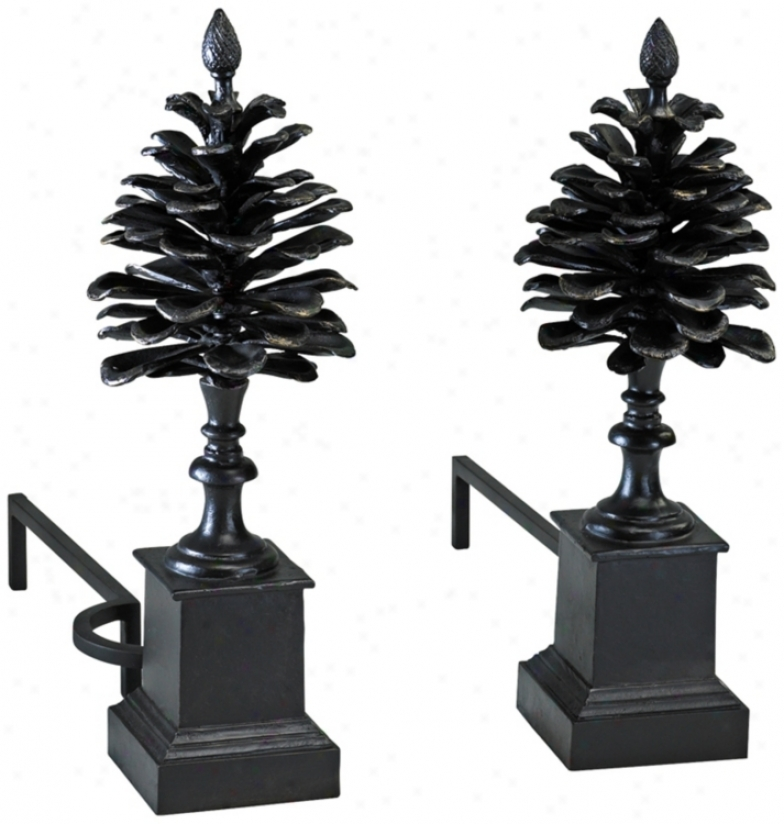 Set Of 2 Pine Cone Iron Fireplace Andirons (v0477)