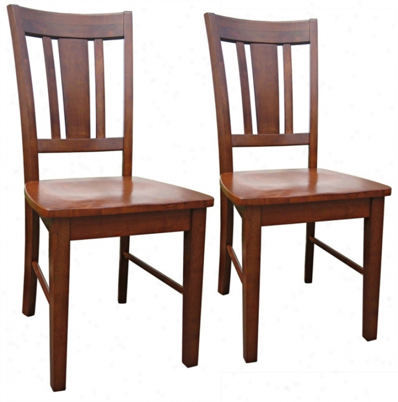 Set Of 2 San Remo Cottage Oak Splatback Dining Chairs (u4237)