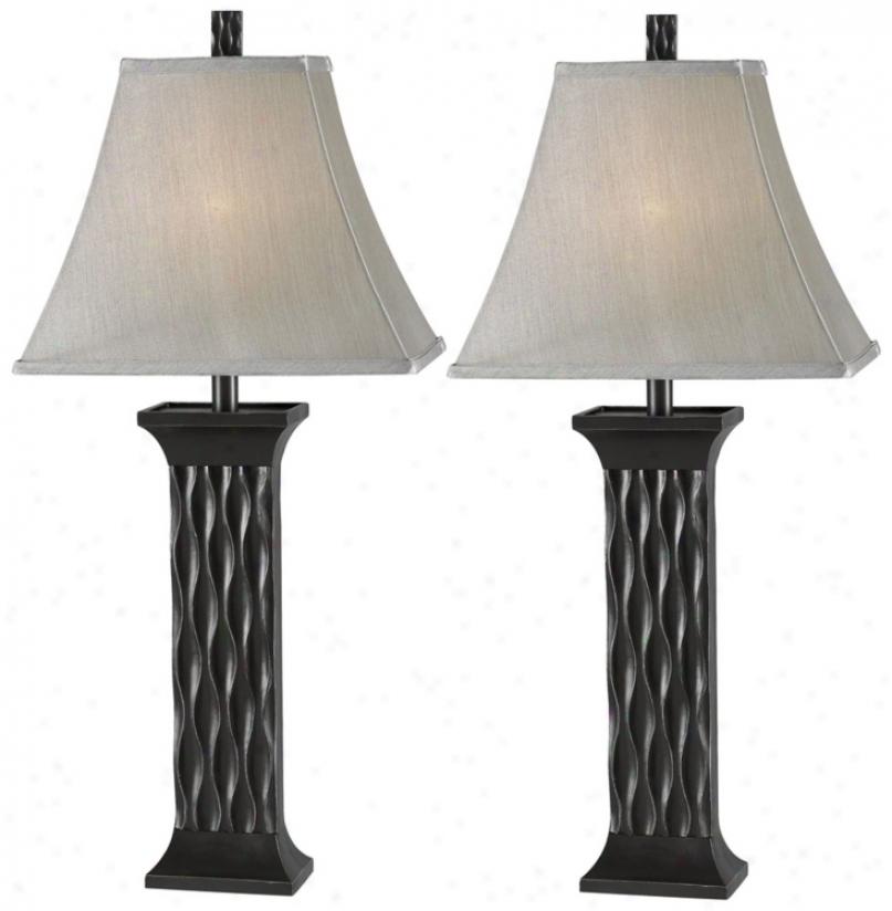 Set Of 2 Schaeffer Black Table Lamps (p0752)