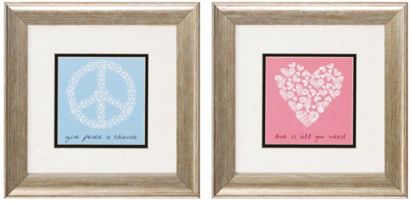 Set Of 2 Silver Frame Peace And Love Wall Art (v6180)