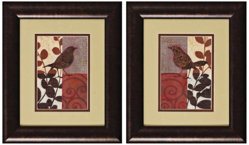 Set O f 2 Sparrow I And Ii Prints Wall Art (k2636)
