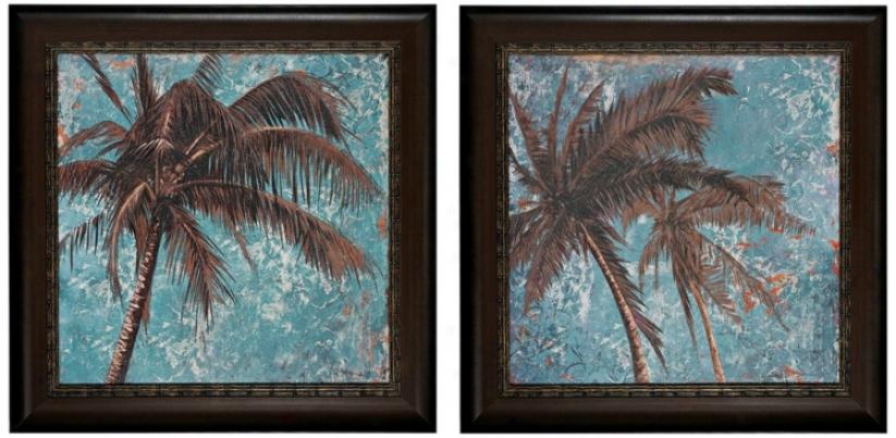 "Set Of 2 Turquiose Palm Tree 30"" Square Wall Art Prints (v7319)"