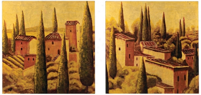 "Set Of 2 Tuscan Viilage 12"" Square Lacquered Wall Art (n5815)"