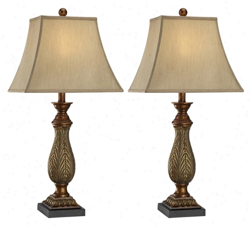 """Set Of 2 Two-tone Gold 29"""" Proud Traditional Table Lamps (u5756)"""