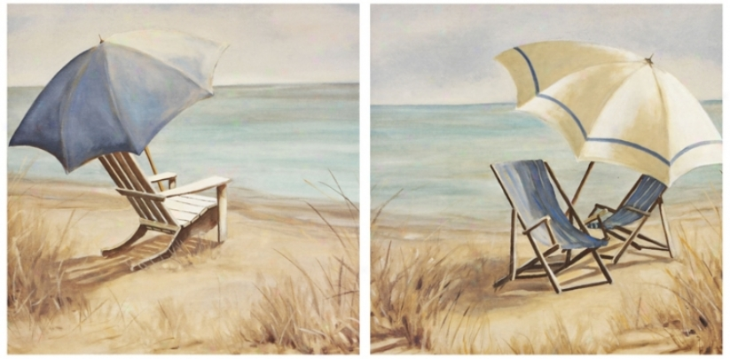 Set Of 2 Vacation I And I Canvas Prknts Wall Art (k2754)