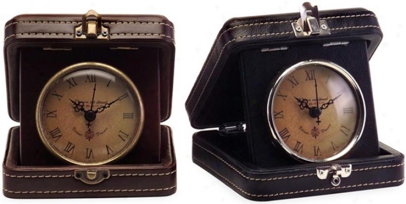 Set Of 2 Vintage Travel Clocks (t9943)
