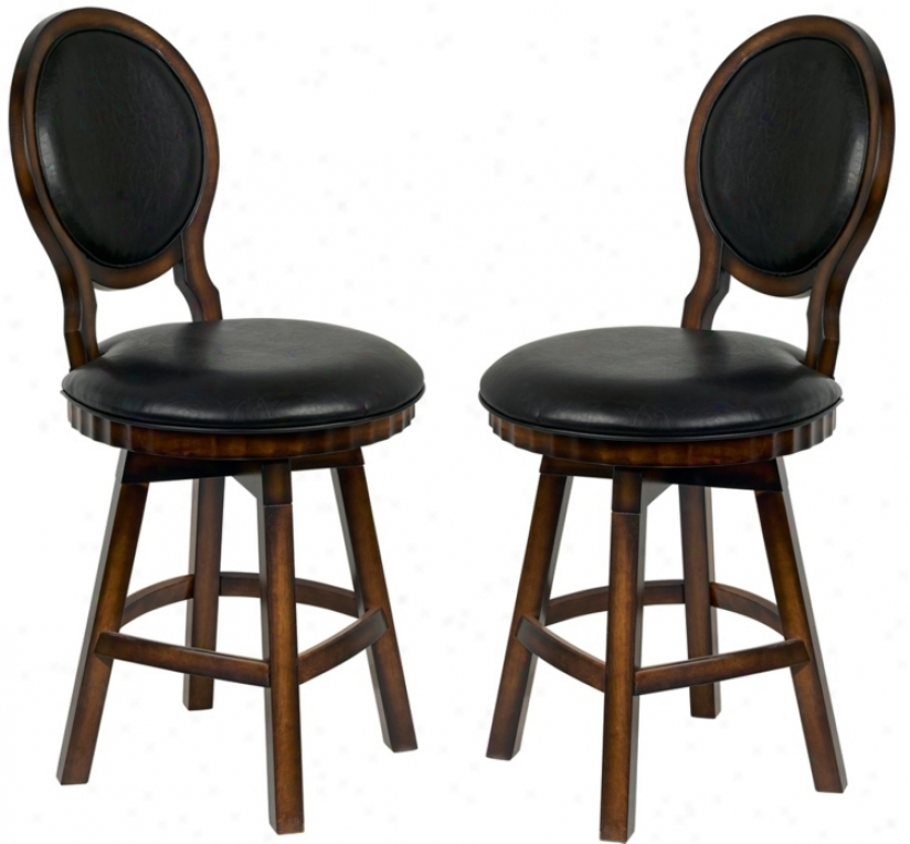 Set Of 2 Walnut Wood And Black Leather Counter Stools (p3856)