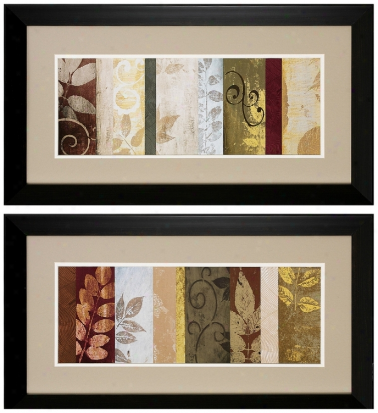 "Set Of 2 Heat  June I/ii 27"" Wids Leaf Wall Art Prints (v6202)"