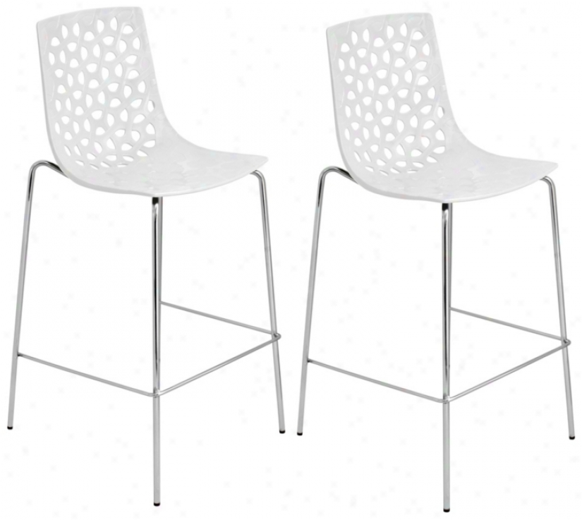 Set Of 2 White Finish Lola Barstools (t8302)
