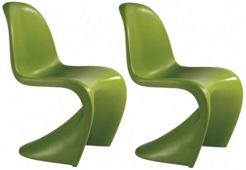 Set Of 2 Zuo Baby S Green Kids Chairs (v7715)
