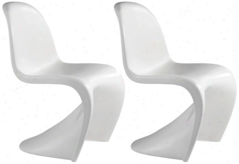 Regular Of 2 Zuo Baby S White Kidds Chairs (v7710)