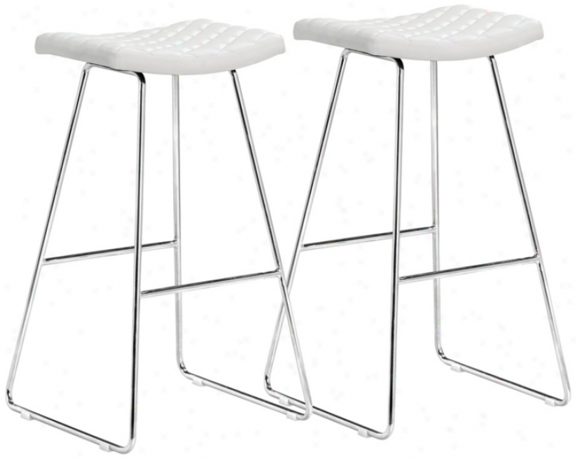 Set Of 2 Zuo Crescent White 31&quoy; High Bar Stools (t2490)