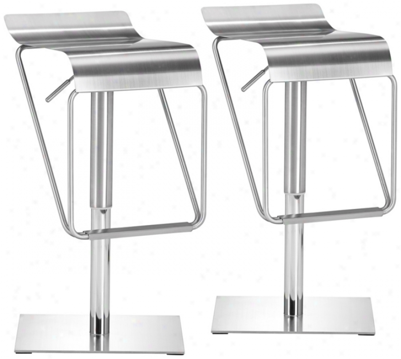 Set Of 2 Zuo Dazzer Adjustable Heught Steel Counter Stools (v7943)