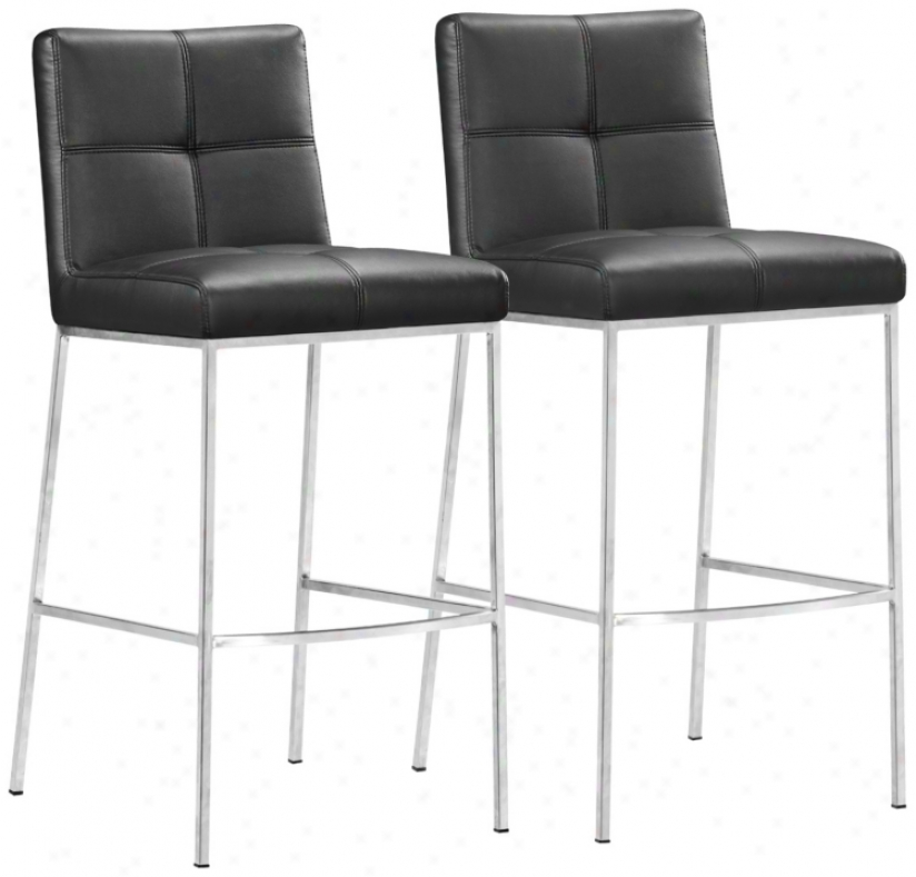 "Set Of 2 Zuo Modern Box Black 30"" High Bar Stool (v7918)"