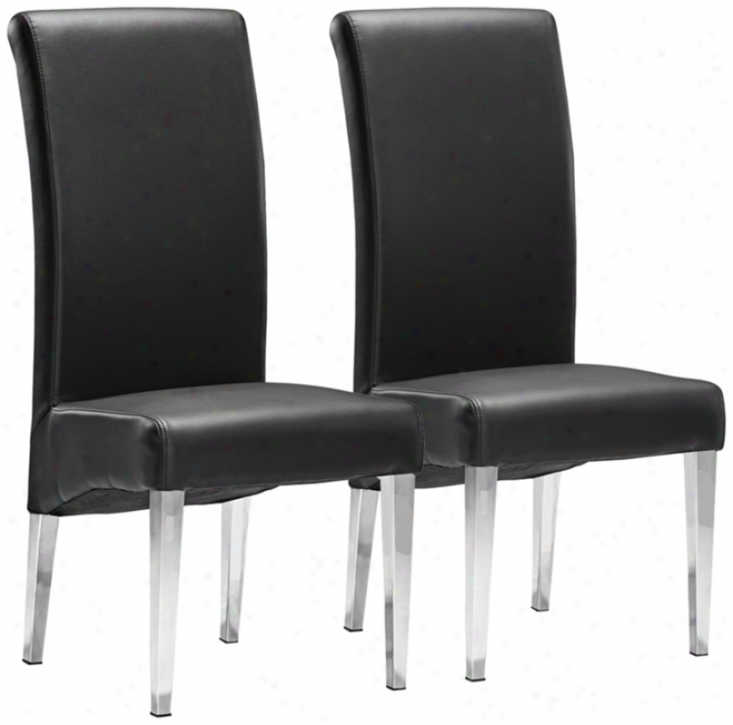 Set fO 2 Zuo Pencil Black Dining Chairs (v7555)