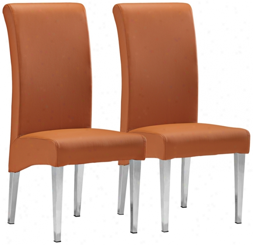 Set Of 2 Zuo Pencil Terracotta Dining Chairs (v7557)