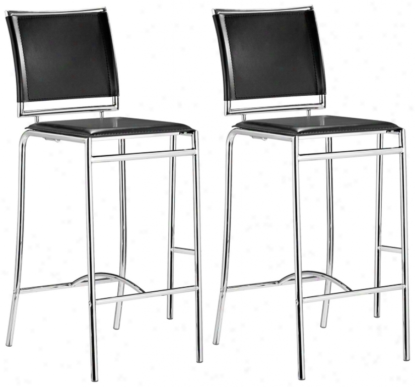 "Set Of 2 Zuo Soar Black 28 1/2"" Remote from the equator Bar Stools (t2508)"