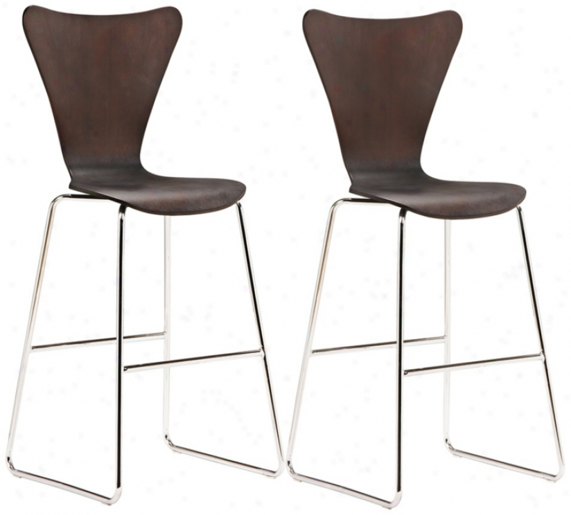 "Set Of 2 Zuo Taffy Wenge  29 1/2"" High Barstools (t2537)"