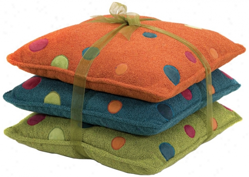 Set Of 3 Adlayn Embroidered Dot Pillows (n1332)