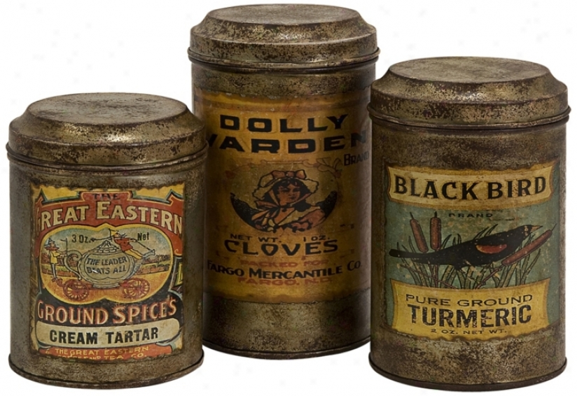 Set Of 3 Addie Metal Canisters (t9968)