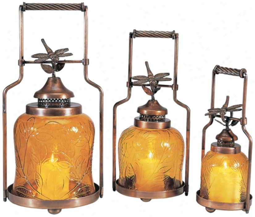 Set Of 3 Amber Glass Dragonfly Nested Lanterns (u7481)