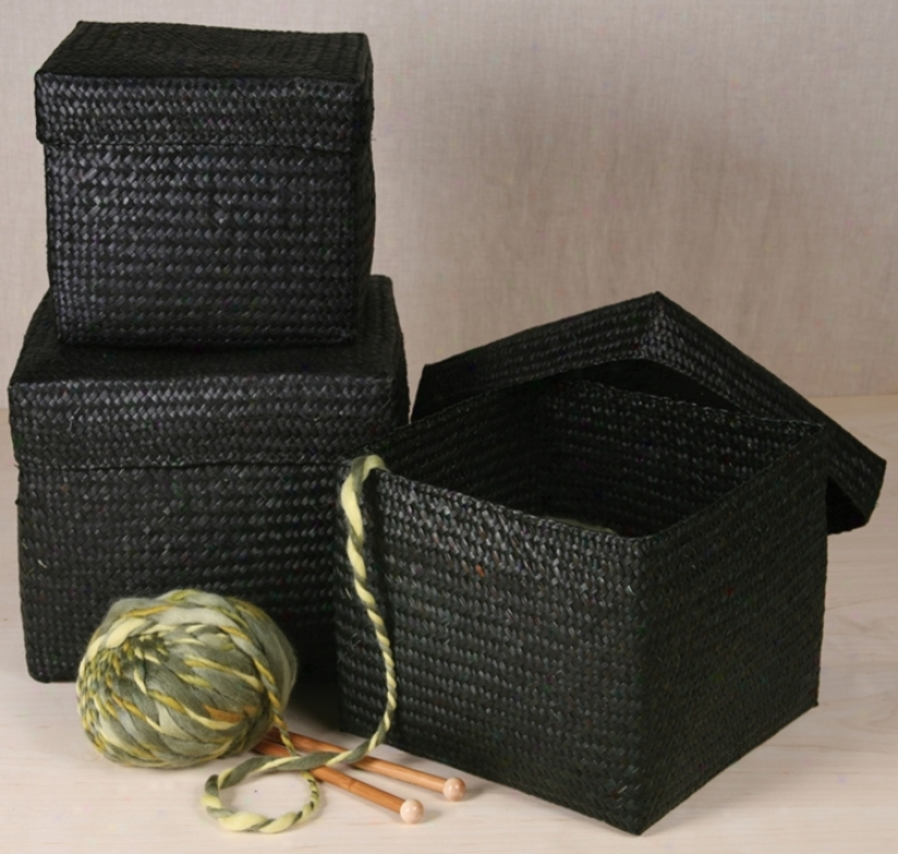 Set Of 3 Black Square Woven Boxes iWth Lids (n2165)