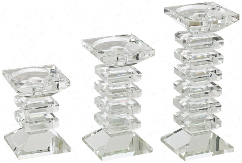 Set Of 3 Block Crystal Glass Candle Holfers (r6042)