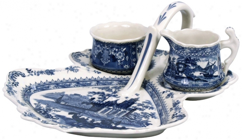 Set Of 3 Blue And White Porcelain Berry Set (r3215)