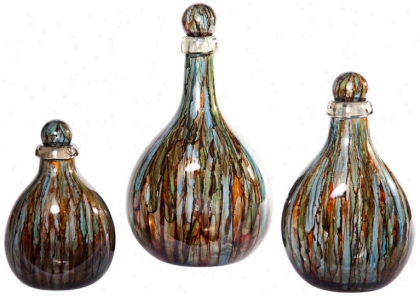 Set Of 3 Blue Spring Decorative Glass Bottles With Tops (v3700)