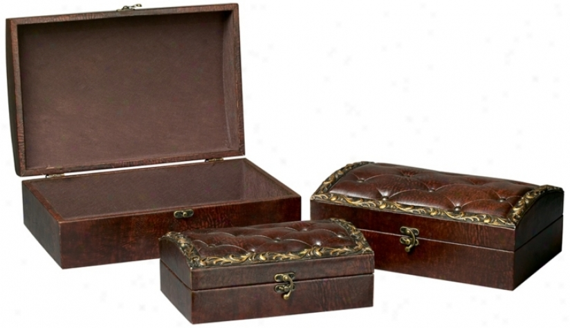 Set Of 3 Brown Tufted Faux Leather Boxes (p1603)