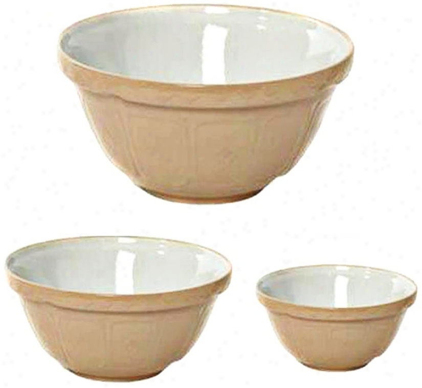 Set Of 3 Cane Mason Cash Mixing Bowls (w2520)