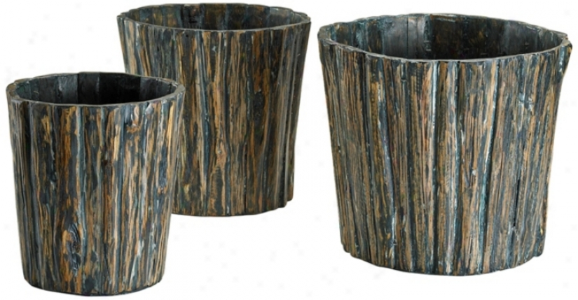 Set Of 3 Chestnut Yelp Vases (v0926)