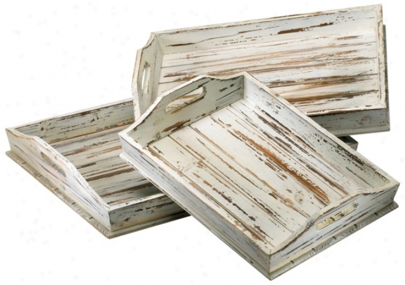 Set Of 3 Distressed White Rectangular Wood Trays (v1561)