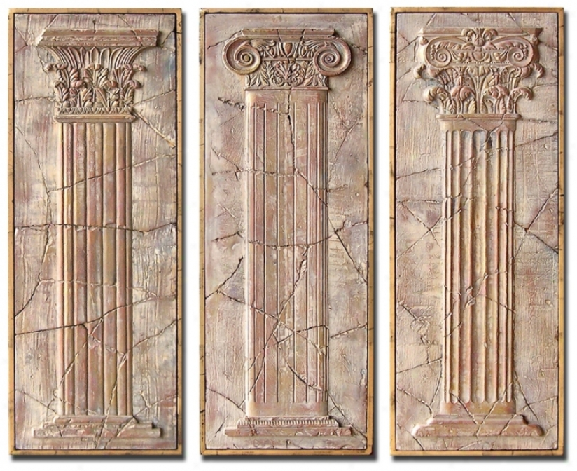 Set Of 3 Exhibitiin Framed Ancient Pillars Waol Art Pieces (m0486)