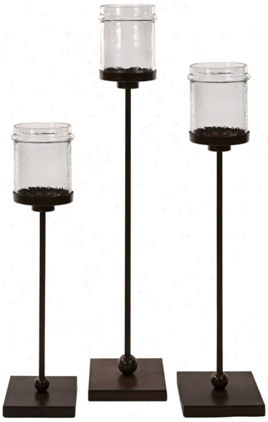 Set Of 3 Flamenco Iron Floor Candle Owner (w2092)