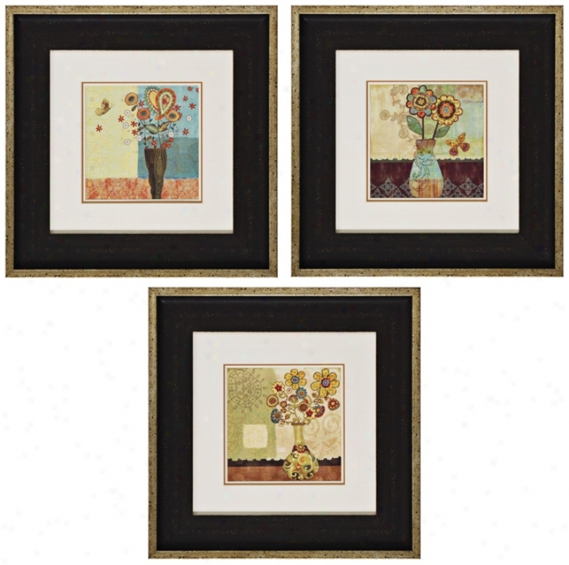 Set Of 3 Floral I/ii/iii Prints Wall Art (k2766)