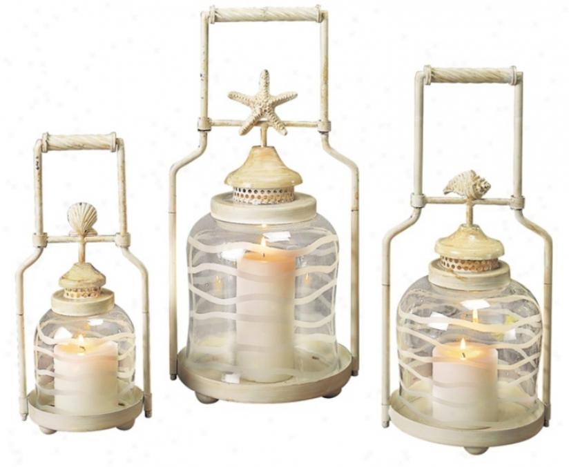 Set Of 3 Frosted Globe Lyre Lanterns (u7482)