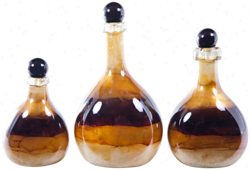 Set Of 3 Goldcoast Decorative Glass Bottles With Tops (v2762)