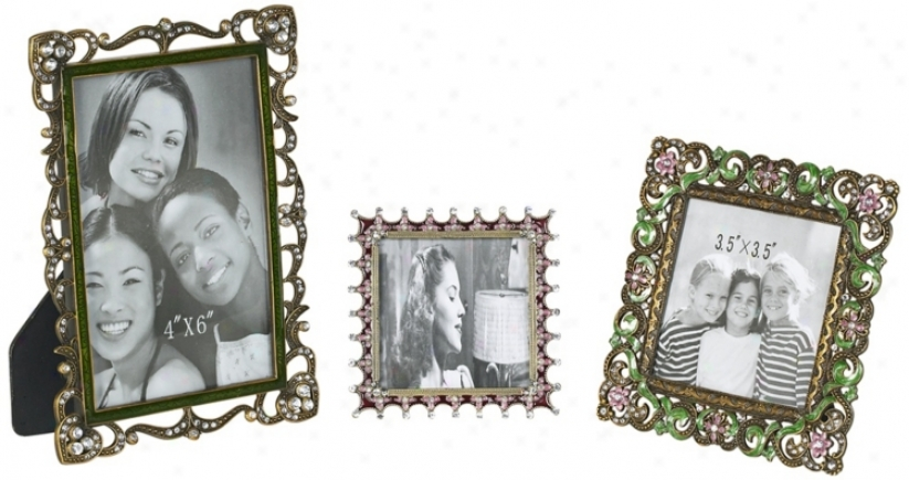 Set Of 3 Flourishing Jeweled Picture Frames (r0872)