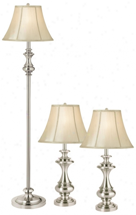 Set Of 3 Kathy Ireland Broadway Accumulation Lamps (f3556)