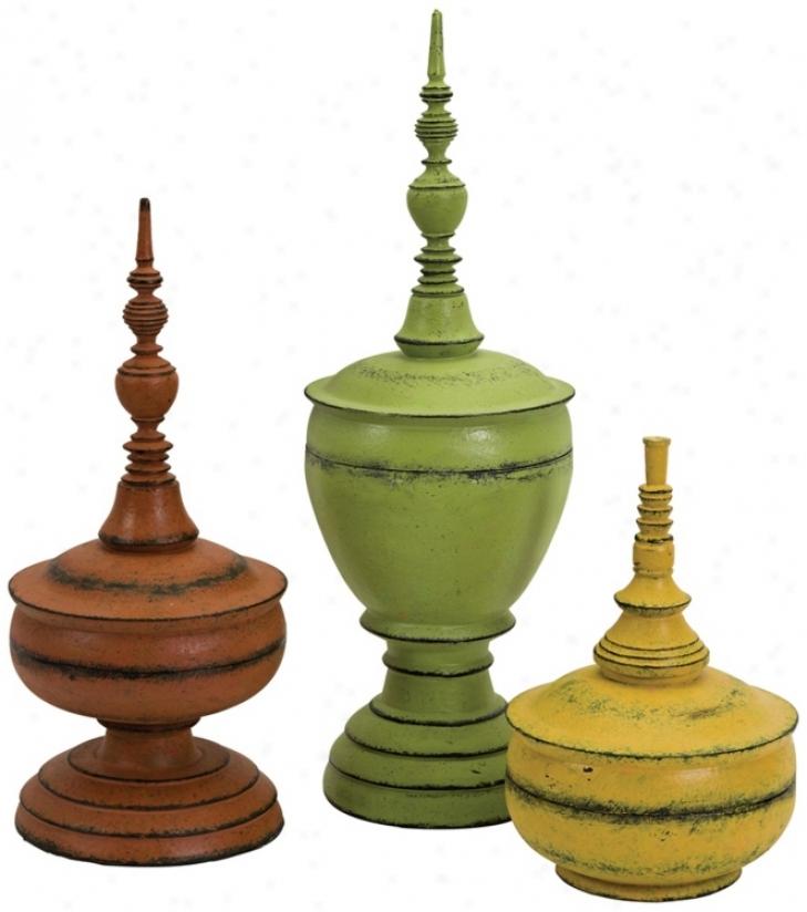Set Of 3 Misa Decorative Finials (n1285)