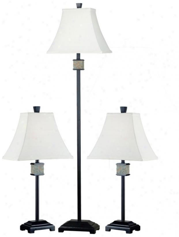 Set Of 3 Monarch Dark Bronze Floor And Table Lamps (p0710)