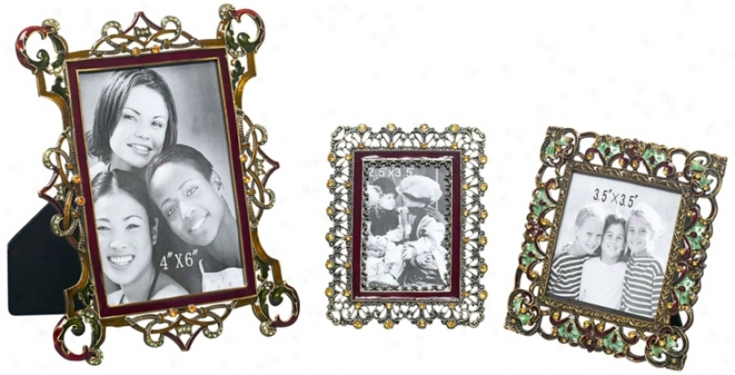 Set Of 3 Multi Jeweled Picture Frames (r0875)