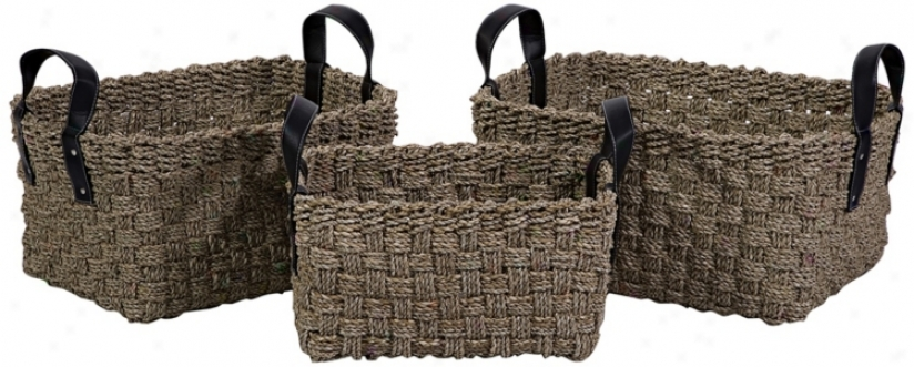 Set Of 3 Natural Seagrass Baskets W/ Handles (n1588)