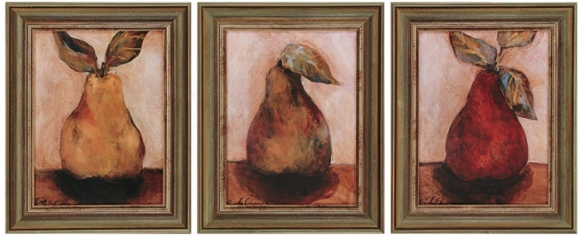 Set Of 3 Pears Framed Wall Art (j3831)