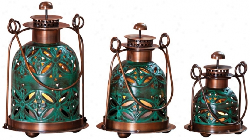 Set Of 3 Pierced Floral Copper And Teal Candle Lanterns (w3094)