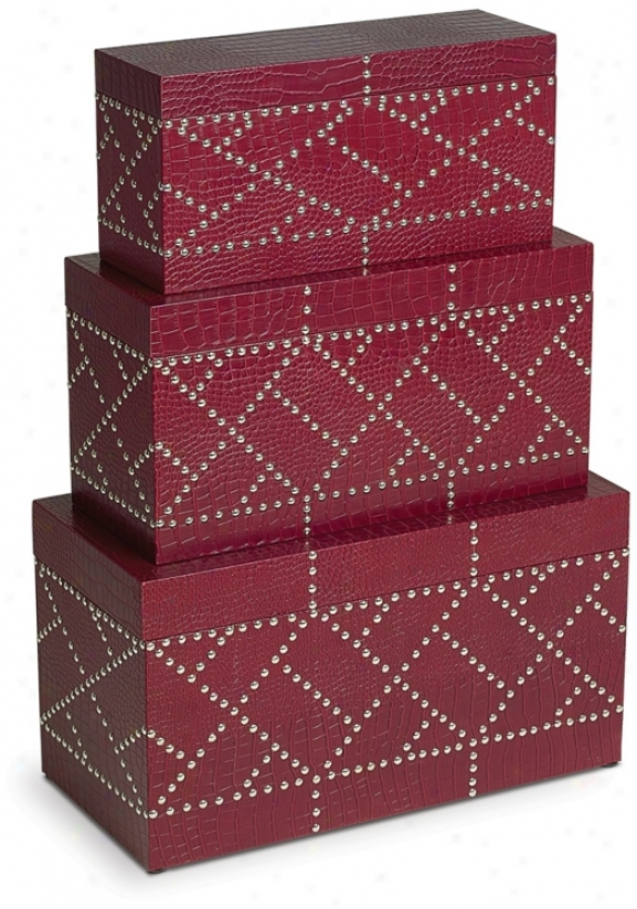 Set Of 3 Red Faux Leather Nailhead Decorative Boxes (p1234)
